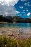 Clear clear water in a mountain lake. Landscape royalty free stock photo