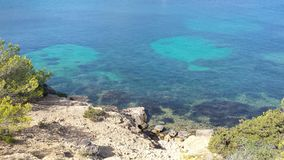 Clear water. Near a cliff in mallorca I took this picture looking at the clear sea water Stock Image