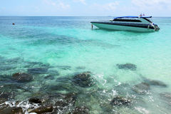 Clear water, pp island,. Speed boat on clear water at pp island Royalty Free Stock Image