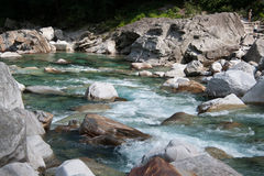 Clear water on the river. Clear water on a mountain river in Val Verzasca (Switzerland royalty free stock photo