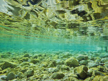 Clear water. River with crystal clear water Stock Photos