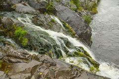 Side channel of the Kivach waterfall royalty free stock image