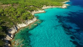 Clear water on sea coast. Sea shore at summer aerial view stock video