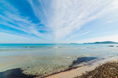 Clear water in Simius beach Royalty Free Stock Image