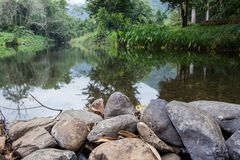 Clear water stream near campground of National Park Guard unit,Pa La-U Waterfall,Kaeng Krachan National Park,Hua Hin,Prachuap Khir. Pa La-U Waterfall is located Royalty Free Stock Images