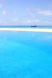 Clear water in the swimming pool on the beach. The clear water in the swimming pool on the beach of Maldives Royalty Free Stock Images