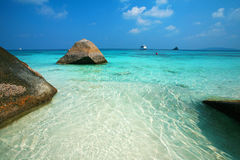 Clear water and white sand at Similan island Royalty Free Stock Images