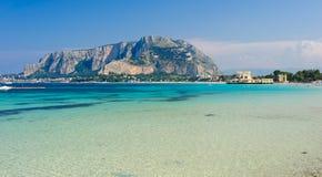 Clear waters of Mondello. Panoramic view of Mondello shoreline, Sicily, Italy Royalty Free Stock Photo