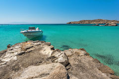 Clear waters of Paranga Beach on the island of Mykonos, Greece Royalty Free Stock Photos