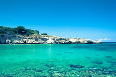 Clear waters and sandstone rocks of the Mediterranean Se. Crystal clear waters and sandstone rocks of the Mediterranean Sea, Cyprus Stock Photography