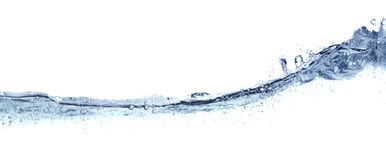 Clear wavy water isolated on white. Royalty Free Stock Photos