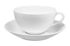 Clear white cup on plate Stock Image
