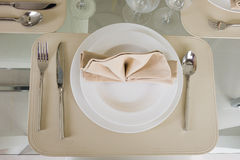 Clear white decoration table for meal Royalty Free Stock Image