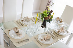 Clear white decoration table for meal Royalty Free Stock Photos