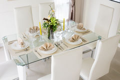 Clear white decoration table for meal Royalty Free Stock Photo