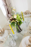 Clear white decoration table for meal Stock Images