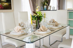 Clear white decoration table for meal Stock Photography
