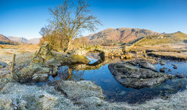 Clear winter morning in the Langdales, Lake District. A frosty bright and clear Lake District morning as the sun rises over the landscape of the Langdales at Stock Photography