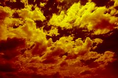 Clear yellow orange sky with cloud. royalty free stock photos