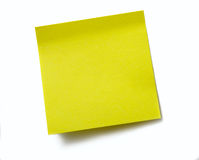 Clear yellow sticky note. Sticky note without words. Isolated on white background Royalty Free Stock Photo