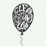Clear your mind of can't in balloon on vintage background Stock Images