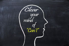 Clear your mind of can`t phrase inside human head shape drawn on chalkboard. Clear your mind of can`t phrase inside human head shape drawn on blackboard Royalty Free Stock Images
