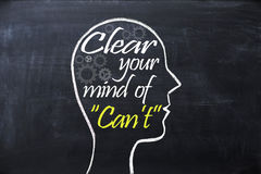 Clear your mind of can`t phrase inside human head shape drawn on chalkboard. Clear your mind of can`t phrase inside human head shape drawn on blackboard Stock Image