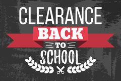 Clearance Back to School Typographic. Clearance Back to School Typographic - Vintage Style Back to School Royalty Free Stock Photo