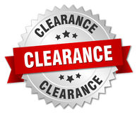 Clearance 3d silver badge. With red ribbon Royalty Free Stock Image