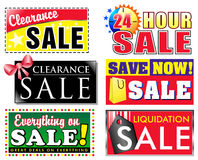 Clearance Discount Sale Icons. Choose from 6 different sale, clearance discount icons for your store. Advertise special products on sale and make your items Royalty Free Stock Photo