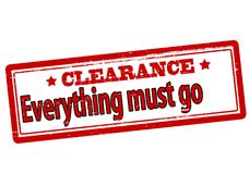 Clearance everything must go. Rubber stamp with text clearance everything must go inside,  illustration Royalty Free Stock Photo