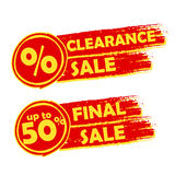 Clearance and final sale with percent and 50 percentage signs. Banners - text in orange drawn labels with symbols, business commerce shopping concept Vector Illustration