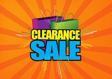 Clearance sale sign. An illustration of a clearance sale sign with shopping bags in the background Stock Photos