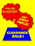 Clearance Sale. Sign with get great deals and prices slashed signs Stock Photos