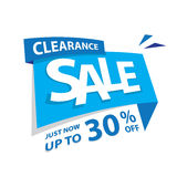 Clearance Sale blue tag 30 percent heading design for banner or. Poster. Sale and Discounts Concept. Vector illustration Stock Images