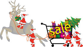 Clearance sale Christmas elves and reindeer Royalty Free Stock Images