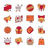 Clearance sale line icon set editable stroke stock illustration