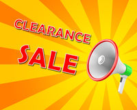 Clearance Sale. Megaphone business concept with text Clearance Sale,  illustration 3d rendering Royalty Free Stock Photography
