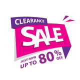 Clearance Sale pink purple 80 percent heading design for banner Stock Images