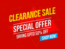Clearance Sale Poster, Banner or Flyer design. Royalty Free Stock Image