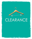 Clearance Sales Poster. Concepts with cloth hanger on unfinished green blue paint background. Negative space on below can be used to put word like discount up stock illustration