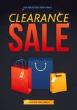 Clearance Sale Poster with percent discount. Illustration of paper shopping bags and lights Royalty Free Stock Photos