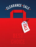 Clearance Sale Poster with percent discount. Illustration of paper shopping bags and lights Stock Photo