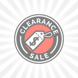 Clearance sale promotion badge with dollar sign price tag icon. Stock Images