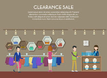 Clearance sale at shop or store, interior view. Cloth and shoes, jewelry or bijouterie on big clearance sale or event. May be used for clearance tag or shop Stock Image