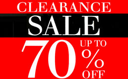 Clearance Sale Up To 70 Percents Promotion Label Stock Photography