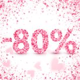 Clearance sale on Valentine`s day. Discounts. Valentine`s day sale offer. Clearance design concept. Heart vector pink confetti splash. 80 percents Discount stock illustration