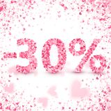 Clearance sale on Valentine`s day. Discounts. Valentine`s day sale offer. Clearance design concept. Heart vector pink confetti splash. 30 percents Discount Royalty Free Stock Photo