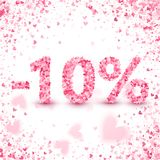 Clearance sale on Valentine`s day. Discounts. Valentine`s day sale offer. Clearance design concept. Heart vector pink confetti splash. 10 percents Discount vector illustration