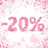 Clearance sale on Valentine`s day. Discounts. Valentine`s day sale offer. Clearance design concept. Heart vector pink confetti splash. 20 percents Discount Royalty Free Stock Photo